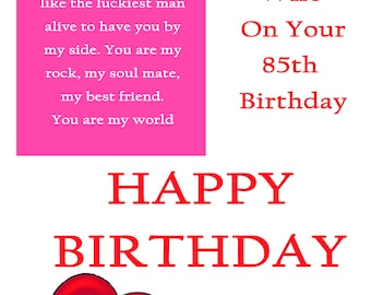 Wife 85 Birthday Card with removable laminate
