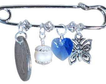 Royal Blue Heart, Butterfly, White Pearl, and Six Pence Bridal Pin