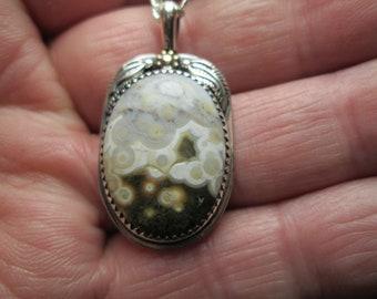 Pendant, Ocean Jasper in sterling silver