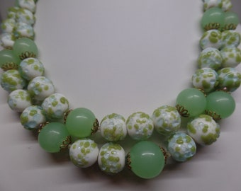 Fabulous Vintage Jade and White Glass Beaded Double Strand Necklace