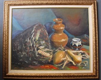 Original Agnes Martin Vintage Taos New Mexico American Abstract Harvest Still Life Oil on Canvas Painting