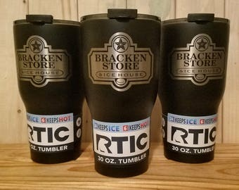 Custom RTICs - Etched Black RTIC - Black customized tumblers - Personalized RTIC
