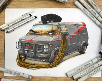 The A-team van and Mister T mashup, a Copic markers original illustration.