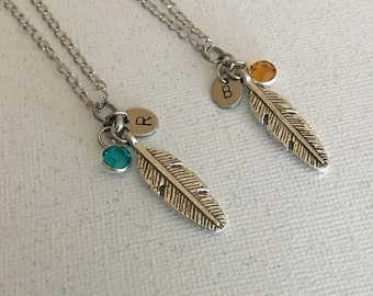 Feather necklace set Birthstone necklaces Personalized jewelry Best friend necklaces Jewelry Gift for her Best friend jewelry BFF gift