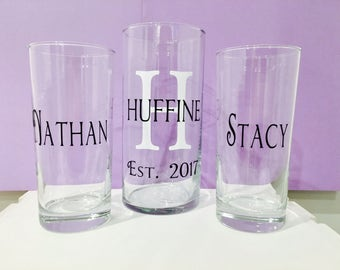 Unity Sand Ceremony Glass Containers - Personalized with Last Name and Initial - Black White - Wedding Ceremony Blended Forever Vase