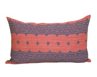 Fez lumbar pillow cover in Indigo/Raspberry