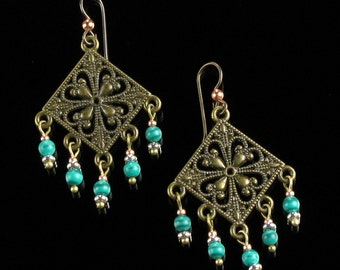 Gypsy Chandelier Earrings, Boho Jewelry Dangle Earrings, Malachite & Brass Earrings, Niobium Boho Earrings, Bohemian Hippie Gift for Women