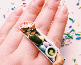 French Bakery Ring Miniature Food Jewelry Polymer Clay