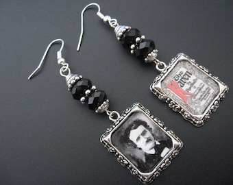 Poe Earrings, Poe Jewelry, Raven Crow Earrinigs, Raven Crow Jewelry, Horror Earrings, Mystery Macabre Jewelry,Rocker Earrings,Rocker Jewelry