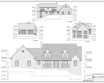 Full set of Two Story 5-bedroom building plans 2,820 sq ft