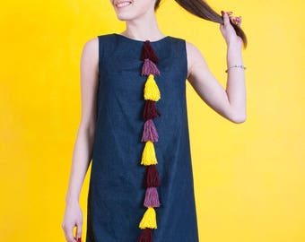 Jeans dress with tassels