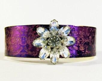 Etched Brass Cuff Rhinestone Bracelet - Free Domestic Shipping