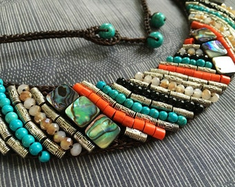 Colorful gem beads on crochet also be choker & necklace