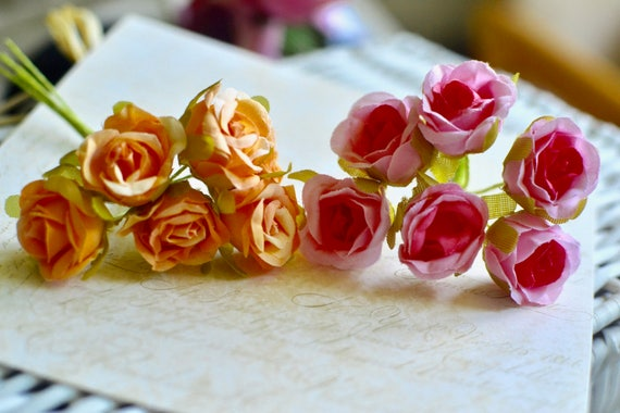 6 small artificial roses i pink rose i orange rose i fabric roses i 6 small artificial roses i pink rose i orange rose i fabric roses i rose bunch i artificial flowers i hair craft roses i fabric rose flower from sixthcraft mightylinksfo