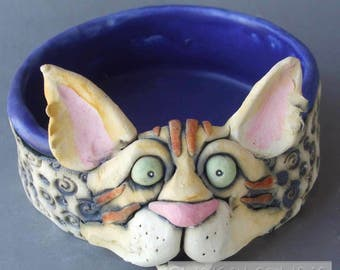 Orange Tabby Cat Sculpture and Pet Bowl or Dish