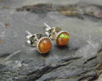 Opal Stud Earrings, Sterling Silver Setting,  Ethiopian Opal Earrings, October Birthstone, Welo Opal, 4mm