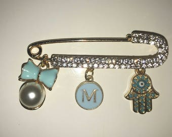 Blue Baby Boy Stroller Pin with Evil Eye and Hamsa. Gold tone
