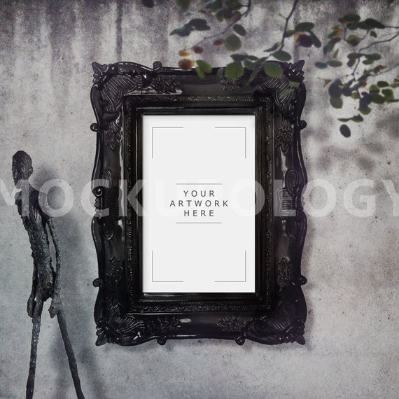11x17 Vertical Digital Black Baroque Frame Mockup Poster