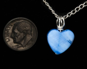Blue Heart Pendant, Reiki Jewelry, Dainty Pendant, Zen Pendant, Energy Pendant, Reiki Pendant, Blue Shell, Love Pendant, Blue Shell Heart