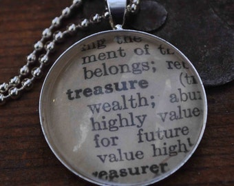 TREASURE Vintage Dictionary Pendant Necklace