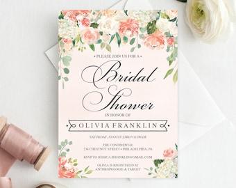 Bridal Shower Invitation -  Bridal Shower Invite - Pretty Peach - Editable Printable Invite - Bridal Shower Invites - Instant Download