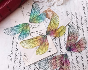 NEW Set of three mixed autumnal rainbow faerie wings