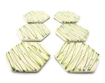 Hexagon coasters, Drink coasters, Ceramic tile coasters, Handmade coasters, Greenery, Modern, Minimal, Ceramic coasters, Ceramics , Set of 6