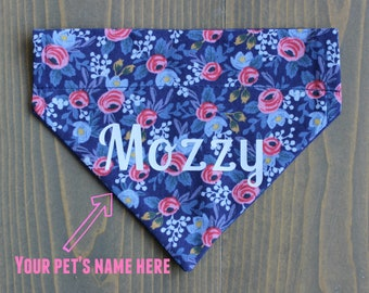 Personalized Pet Bandana, Customize, Add a Name, Blue and Pink Floral, White Vinyl, Over the Collar, Collar NOT include, Dog Clothing