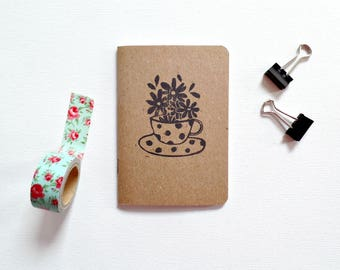 Daily gratitude journal, Tea lover gift, Thank you gift, Cute notebooks, Floral notebook, Gift for her, Inspirational journal, Daily journal