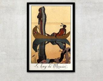 """Art Deco print vintage style fashion illustration, """"Le Long du Missouri"""" by George Barbier, IL028."""