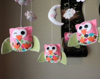 "Baby Crib Mobile - Baby Mobile - Owl Mobile - Nursery Crib Mobile ""Five little owls in Pink Style""(You can choose your colors)"