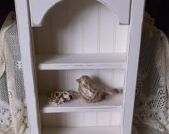 Shabby Cottage Wall Curio shelf, distressed, Heirloom white, upcycled,