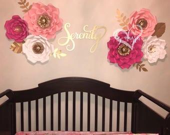 6 pc nursery paper flowers , paper flowers, nursery decor, CUSTOMIZE YOUR COLORS