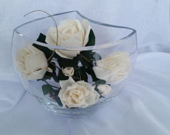 Exquisite  Cream Roses Graceful Dark Green Leaves Looped Silver Grass in a New Shape Glass Dried Flowers
