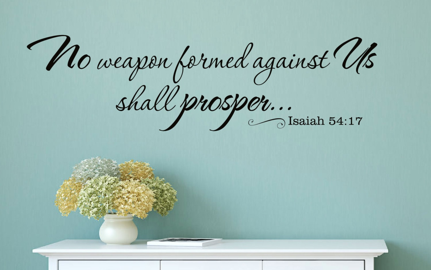 No weapon formed against us shall prosper christian vinyl wall zoom amipublicfo Choice Image