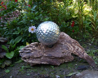 8 Inch Silver Gazing Ball on Reclaimed Wood