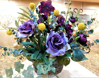 Silk flower arrangement, Purple /Lavender / yellow Flower arrangement, Flower centerpiece