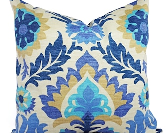 Two Outdoor Pillow Covers - Blue Navy and Tan Pillows - Patio Pillows - Couch Pillow 12x16 12x18 14x14 16x16 18x18 20x20 22x22 24x24 26x26