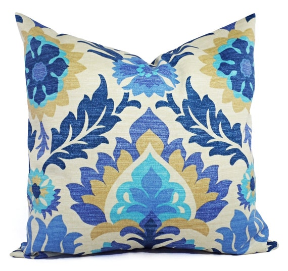 Two Outdoor Pillow Covers Blue Navy And Tan Pillows Patio