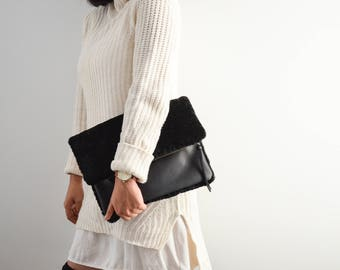 Shearling Clutch Black