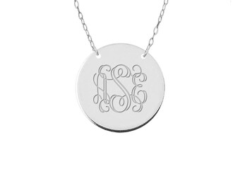 Sale Sterling Silver  Disc monogram necklace 1 inch pendant select any initial made with 925 Sterling silver