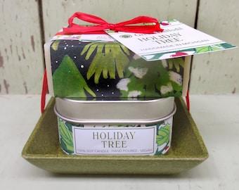 Holiday Tree Candle & Soap Dish Kit-  Green Daffodil