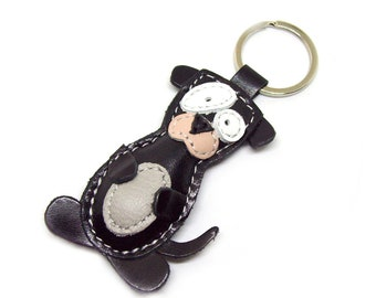 Dog Leather Keychain Black - FREE Shipping Worldwide - Handmade Dog Leather Bag Charm Dog Lover Gift Keychain Gift Ideas Dog Accessories