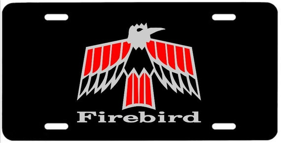 Firebird W Text Metal License Plate Pontiac 1967 1968 1969