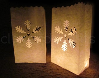 30 White Luminary Bags - Snowflake Design - Christmas, Holiday, Wedding and Party Decor - Flame Resistant Paper - Candle Bag - Luminaria