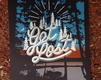 Get Lost screen printed art print