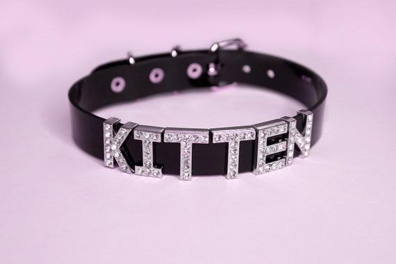 KITTEN Choker kitten collar human choker Rhinestone