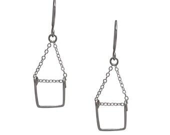 Rectangle Dangler Earrings in sterling silver or 14K gold filled