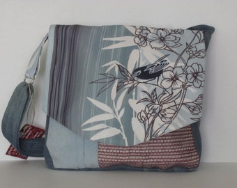 handbag, women fabric shoulder purse back.