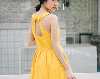 Mustard Yellow Prom Dress Sundress Audrey Hepburn Yellow Party Dress Mustard Dress Backless Dress Bridesmaid Summer Dress Love Potion